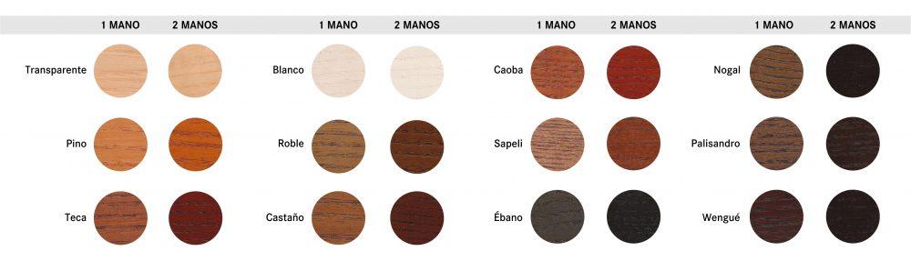 gama de tintes para la madera